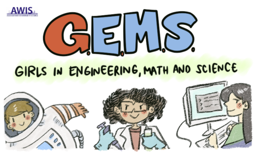 Cartoon GEMS logo. Girls in engineering, math, and science.